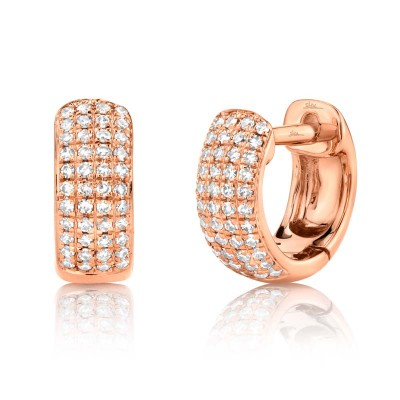 0.20ct 14k Rose Gold Diamond Pave Huggie Earring