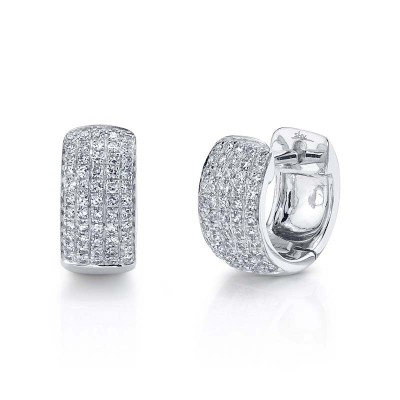 0.25ct 14k White Gold Diamond Pave Huggie Earring