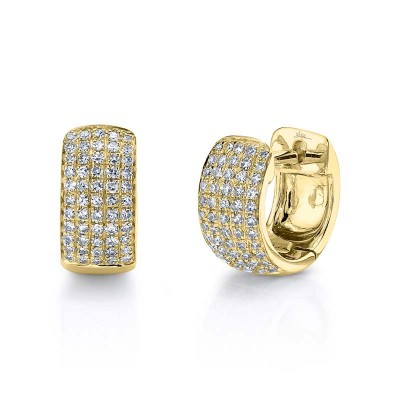 0.25ct 14k Yellow Gold Diamond Pave Huggie Earring