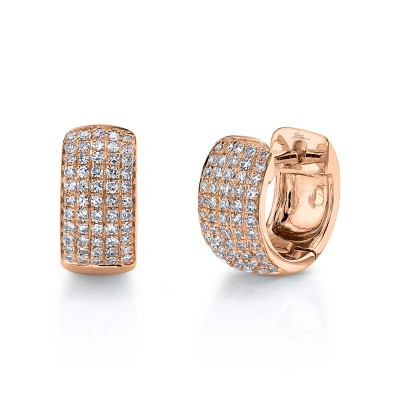 0.25ct 14k Rose Gold Diamond Pave Huggie Earring