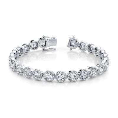 10.00ct Round Brilliant Center 1.40ct Side 14k White Gold Diamond Lady's Bracelet