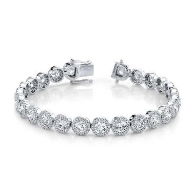 10.00ct Round Brilliant Center 1.40ct Side 14k White Gold Diamond Lady's Bracelet