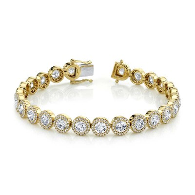 10.00ct Round Brilliant Center & 1.40ct Side 14k Yellow Gold Diamond Lady's Bracelet