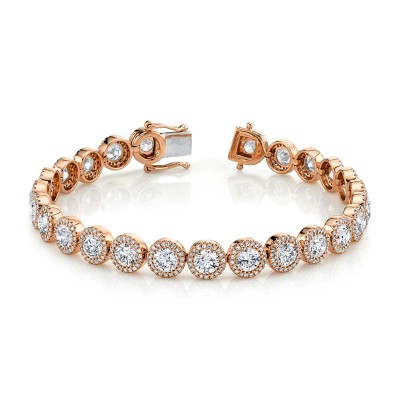 10.00ct Round Brilliant Center & 1.40ct Side 14k Rose Gold Diamond Lady's Bracelet