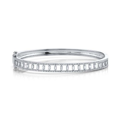 1.10ct 14k White Gold Diamond Baguette Bangle