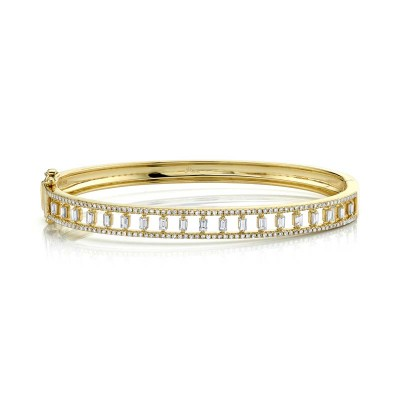 1.10ct 14k Yellow Gold Diamond Baguette Bangle