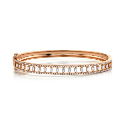 1.10ct 14k Rose Gold Diamond Baguette Bangle