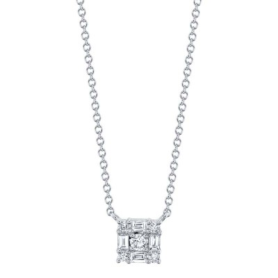 0.25ct 14k White Gold Diamond Baguette Necklace