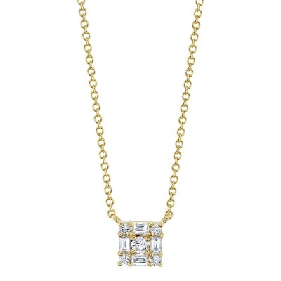 0.25ct 14k Yellow Gold Diamond Baguette Necklace