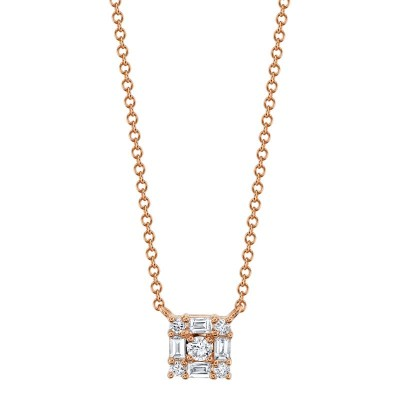 0.25ct 14k Rose Gold Diamond Baguette Necklace