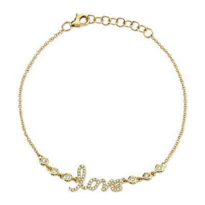 "0.19ct 14k Yellow Gold Diamond ""Love"" Bracelet"
