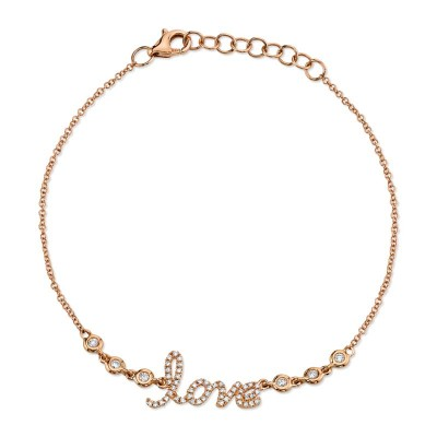 "0.19ct 14k Rose Gold Diamond ""Love"" Bracelet"