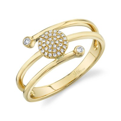 0.10ct 14k Yellow Gold Diamond Pave Circle Ring