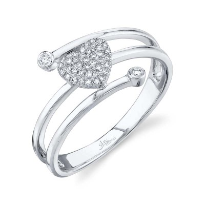 0.10ct 14k White Gold Diamond Pave Heart Ring
