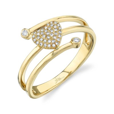 0.10ct 14k Yellow Gold Diamond Pave Heart Ring