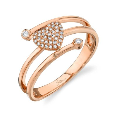 0.10ct 14k Rose Gold Diamond Pave Heart Ring