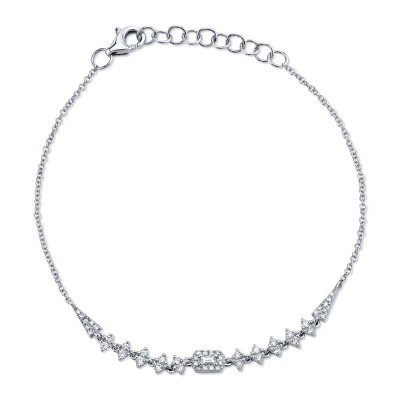 0.34ct 14k White Gold Diamond Baguette Bracelet