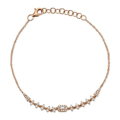 0.34ct 14k Rose Gold Diamond Baguette Bracelet