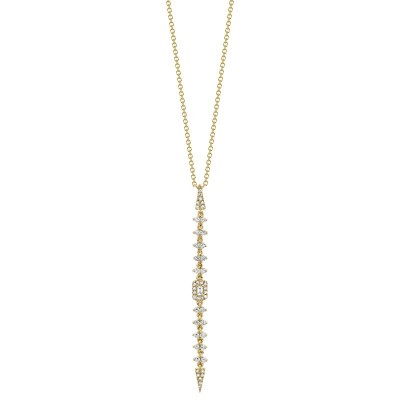 0.34ct 14k Yellow Gold Diamond Baguette Necklace