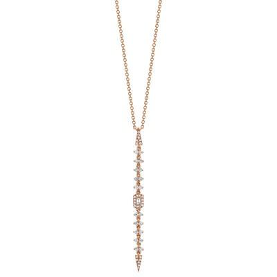 0.34ct 14k Rose Gold Diamond Baguette Necklace