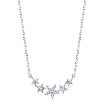 0.11ct 14k White Gold Diamond Star Necklace