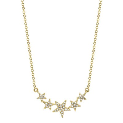 0.11ct 14k Yellow Gold Diamond Star Necklace