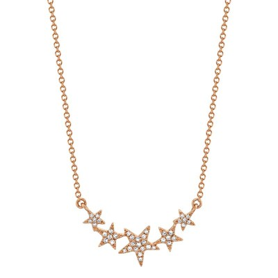 0.11ct 14k Rose Gold Diamond Star Necklace