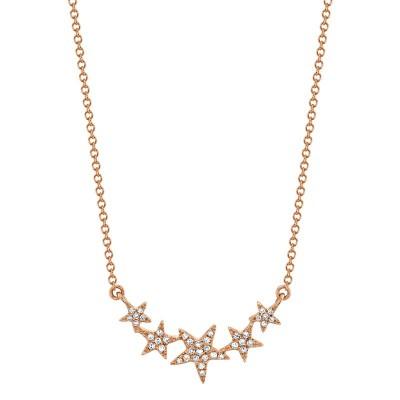 0.11ct 14k Rose Gold Diamond Star Necklace