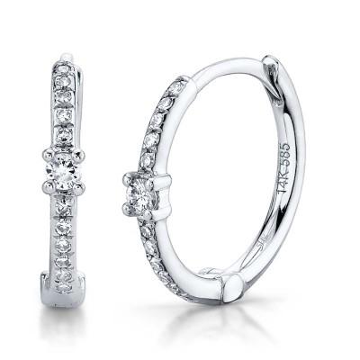 0.13ct 14k White Gold Diamond Huggie Earring