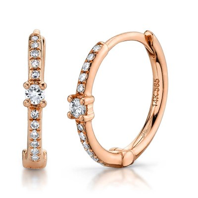 0.13ct 14k Rose Gold Diamond Huggie Earring