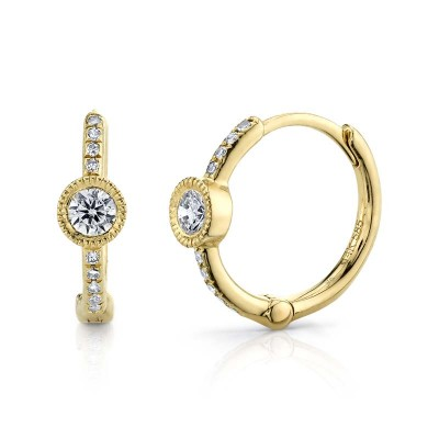 0.23ct 14k Yellow Gold Diamond Huggie Earring