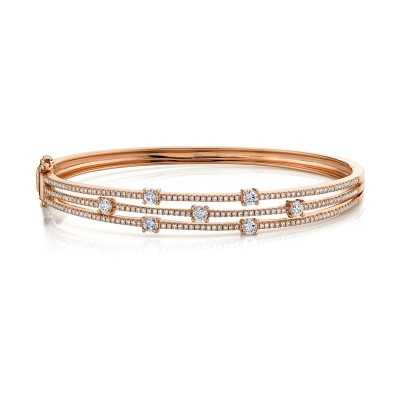 1.22ct 14k Rose Gold Diamond Bangle