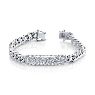 1.12ct 14k White Gold Diamond Baguette Bar Chain Bracelet