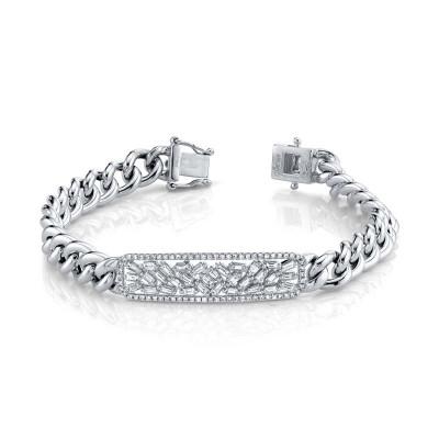 1.12ct 14k White Gold Diamond Baguette Bar Chain Bracelet