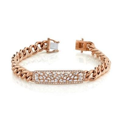 1.12ct 14k Rose Gold Diamond Baguette Bar Chain Bracelet