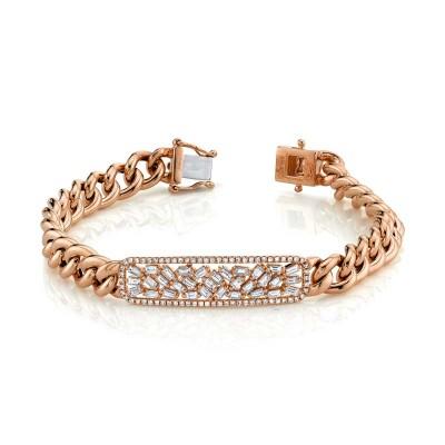 1.12ct 14k Rose Gold Diamond Baguette Bar Chain Bracelet