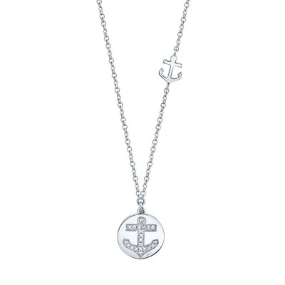 0.06ct 14k White Gold Diamond Anchor Disc Necklace