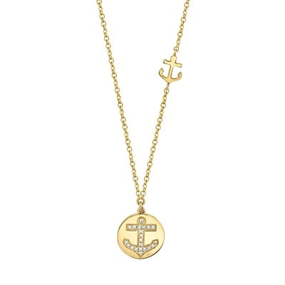 0.06ct 14k Yellow Gold Diamond Anchor Disc Necklace