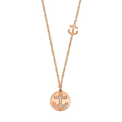0.06ct 14k Rose Gold Diamond Anchor Disc Necklace