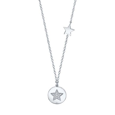 0.03ct 14k White Gold Diamond Pave Star Disc Necklace