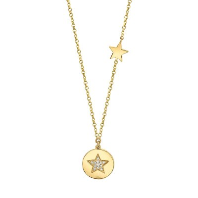 0.03ct 14k Yellow Gold Diamond Pave Star Disc Necklace