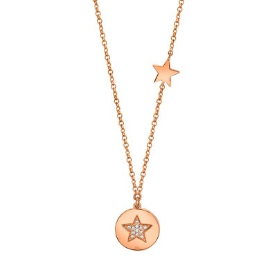 0.03ct 14k Rose Gold Diamond Pave Star Disc Necklace