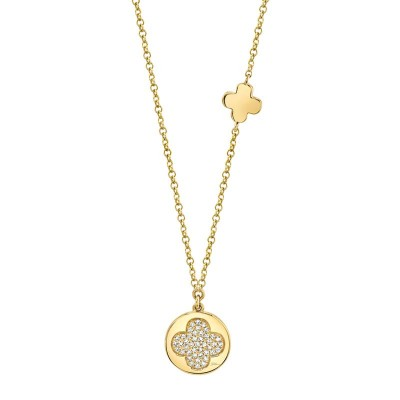 0.11ct 14k Yellow Gold Diamond Pave Clover Disc Necklace