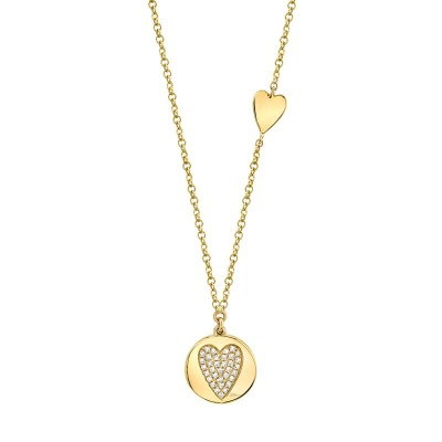 0.08ct 14k Yellow Gold Diamond Pave Heart Disc Necklace