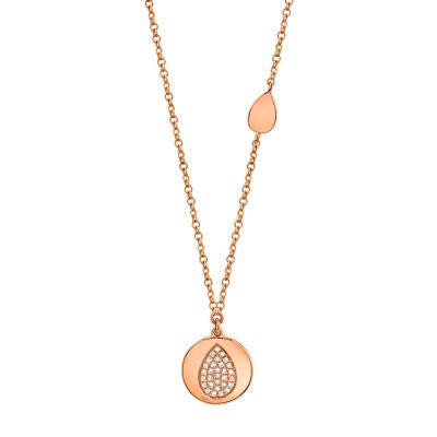 0.07ct 14k Rose Gold Diamond Pave Pear Disc Necklace