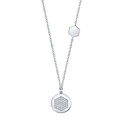 0.09ct 14k White Gold Diamond Pave Hexagon Disc Necklace