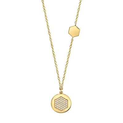0.09ct 14k Yellow Gold Diamond Pave Hexagon Disc Necklace