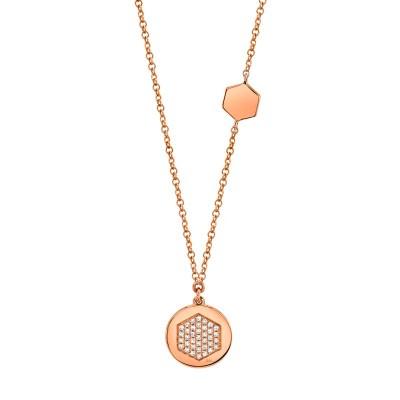 0.09ct 14k Rose Gold Diamond Pave Hexagon Disc Necklace