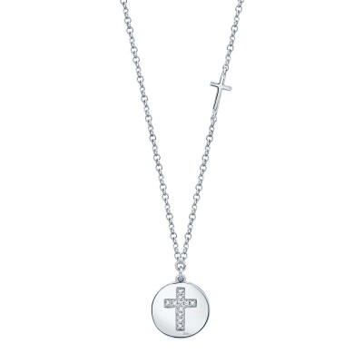0.04ct 14k White Gold Diamond Cross Disc Necklace