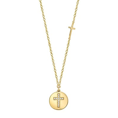 0.04ct 14k Yellow Gold Diamond Cross Disc Necklace